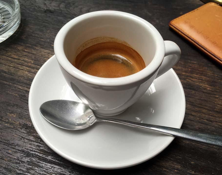 double espresso in white cup